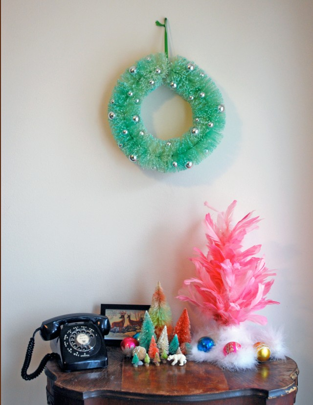 I also dyed this bottle brush wreath I found!